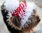 Candy Cane -  Red and White Knit Dog Hat - Small or Medium