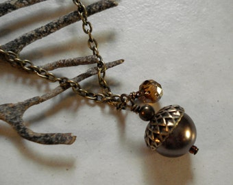 Acorn Brown  Pearl Antique Brass Necklace