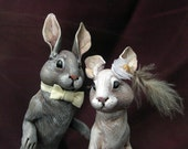 Wedding rabbits - Custom Order EXAMPLE ONLY. Polymer clay handpainted miniature