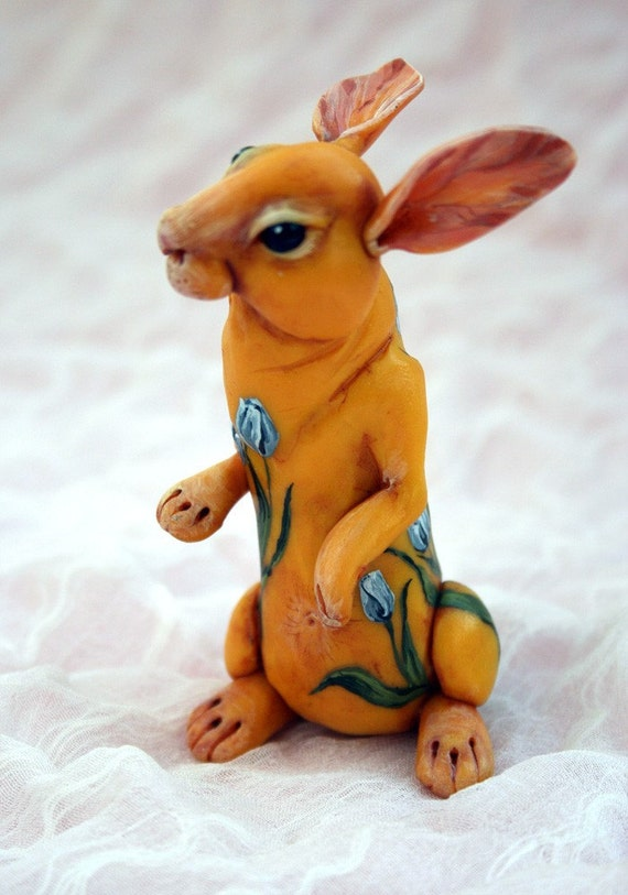 SALE. Yellow rabbit embracing by blue tulips. Polymer clay hand painted miniature