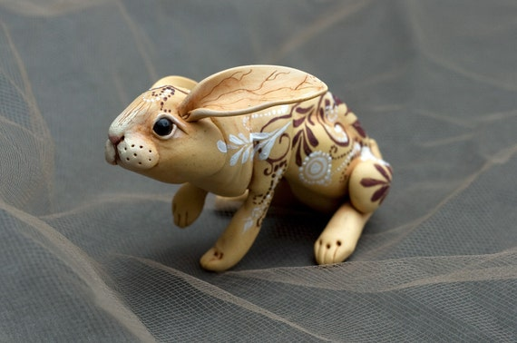 Vanilla pears rabbit. Polymer clay hand painted miniature