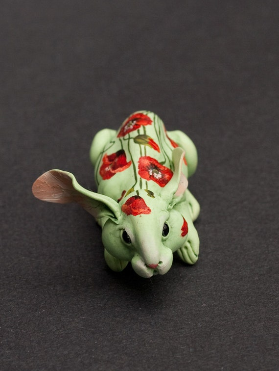 SALE. Rabbit hidden in poppies. Polymer clay hand painted miniature