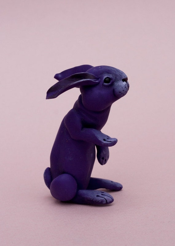 Simply purple rabbit. Polymer clay miniature