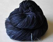 Turbulent dark night OOAK- Merino/Silk yarn fingering weight