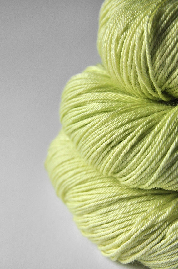 Melting  lime sorbet OOAK - Merino/Silk  superwash yarn fingering weight