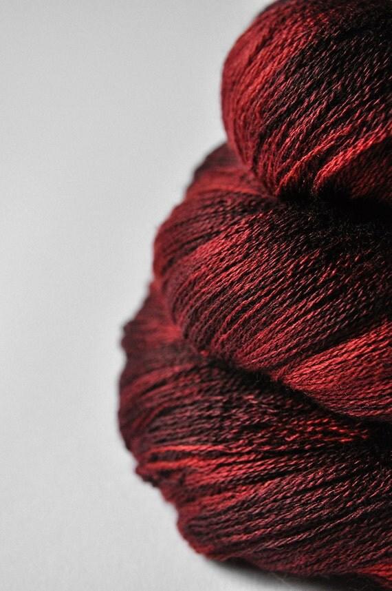 Dark Fire OOAK - Merino/Silk/Cashmere Yarn Fine Lace weight