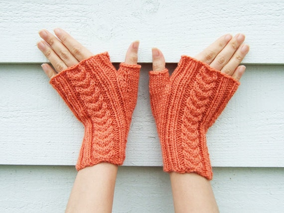 Organic Wool and Naturally Dyed - Tangerine Orange Cable Fingerless Mittens in pure wool