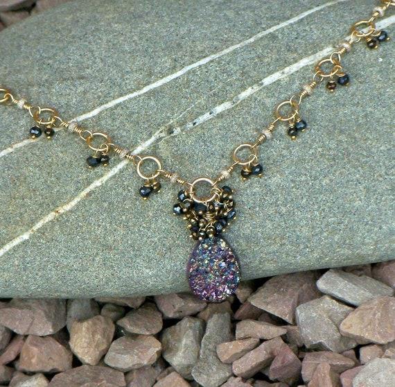 Druzy Pendant: Purple Titanium with Mystic Black Spinel, Pyrite, Sterling Silver /14K Vermeil - Necklace Earrings