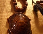 Unisex Brown Wooden Beaded Turtle Necklace by MarysPride