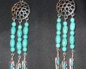Blue Turquoise Dreamcatcher Dangle Earrings by MarysPride