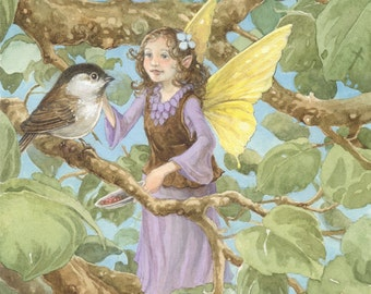 Aubrey Fairy and Chickadee 8.5 x11 print