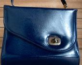 Vintage Patent Leather Navy Blue Purse