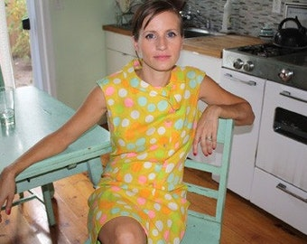 Vintage 1960s Polka Dot Shift Dress