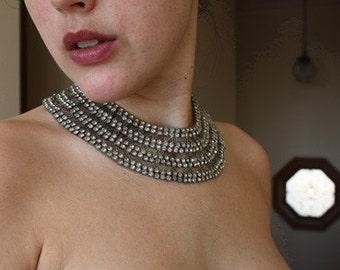 Vintage Rhinestone Collar Necklace Choker