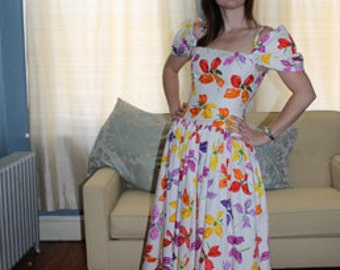 Vintage 1980s Fit and Flare Floral Dress