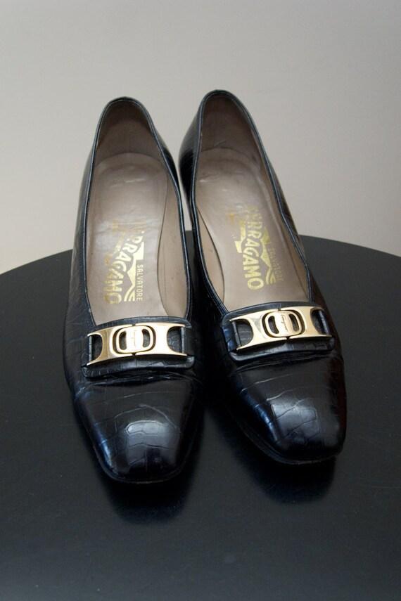 Vintage Ferragamo Black Pumps - Size 5 1/2