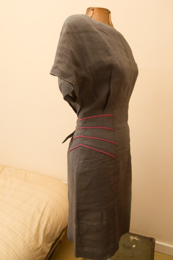 Vintage 1980s Linen Gray and Pink Dress