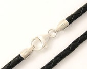 "3mm Black Braided Bolo Leather Cord Necklace Silver Clasp 14"" to 36"" inches Silver Clasp, You choose length. LCB0300BLKS"