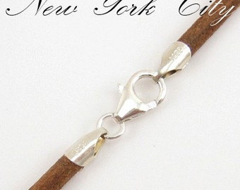 """2mm Natural Leather Cord Necklace Silver Clasp 14"""" inches - 36"""" inches N2NATOO_SS"""