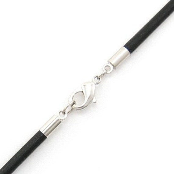 """6mm Black Leather Cord Necklace Silver Plated Clasp 14"""" inches - 36"""" inches, You choose length. LCR0600BLKA"""
