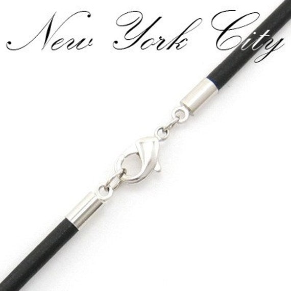"2mm Black Leather Cord Necklace Silver Plated Clasp 14"" inches - 36"" inches, You choose length. LCR0200BLKA"
