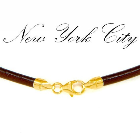 "4mm Brown Leather Cord Necklace 14"" inches - 36"" inches with 14K Gold Filled Clasp, You choose length. LCR0400BRNG"