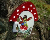 Mushroom Fairy Garden Door, Rustic Red for your Gnomes, Fairies, Elves, Cupids and other Mystical Beings