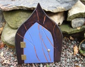 Fairy Garden Door, Deep Blue with Purple Sparkle for your Gnomes, Fairies, Elves, Cupids and other Mystical Beings