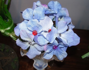 Blue Hydrangea Flower Pen with Jeweled Centers