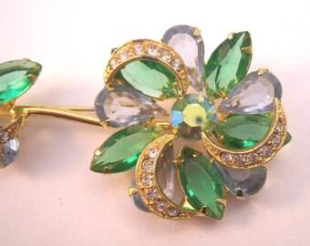 Rhinestone flower brooch, green and blue