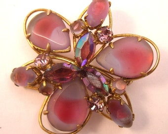 Pink and pearl frosted glass art stone brooch with rhinestones.