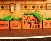 NEW FAMILY PUMPKIN set featuring up to 4 small and one large beaded pumpkin and little name pumpkins