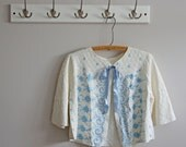 Vintage Embroidered Quilted Bed Jacket