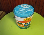 Vintage Shedd's Peanut Butter Tin Bucket Circus Animals on a Train