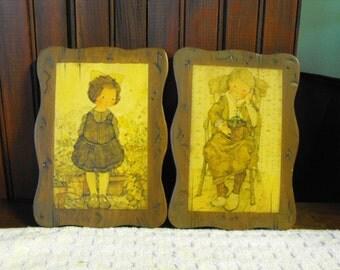 SALE Vintage Little Girl Wooden Plaques