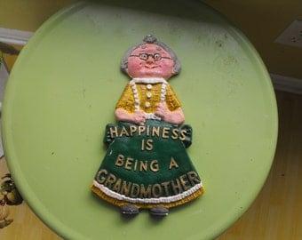 SALE Vintage Chalkware Grandma Plaque