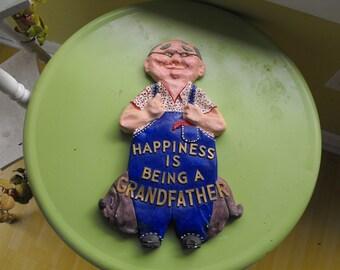 SALE Vintage Chalkware Grandpa Plaque