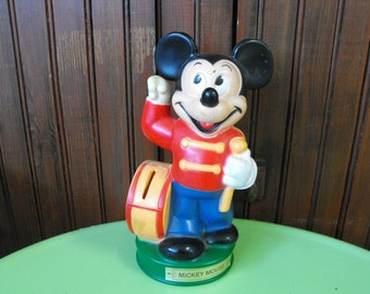 Vintage Mickey Mouse Drummer Band Leader Bank Moving Arm