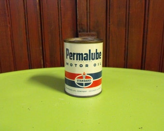 Vintage Oil Can Toy Bank Permalube Standard Oil