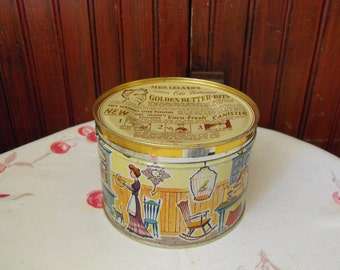 Vintage Mrs. Leland's Famous Old Fashioned Golden Butter Bits Tin