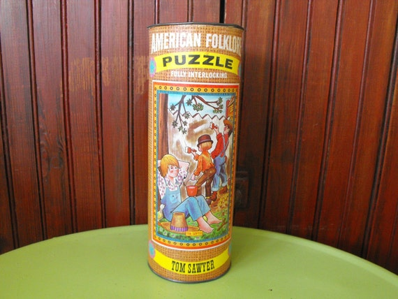 Vintage American Folklore Tom Sawyer Puzzle in a Can