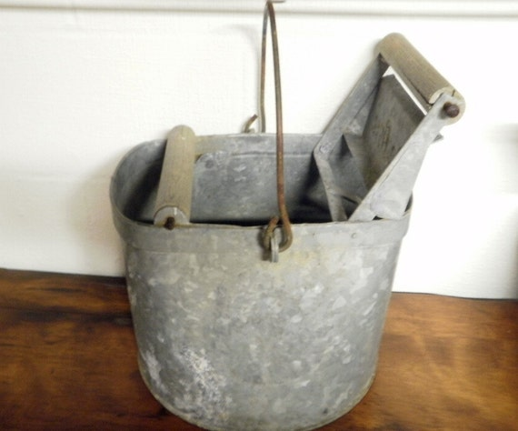 Vintage Deluxe Galvanized Mop Bucket Treasury By