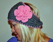 HEADBAND Earwarmer CHOOSE COLOR  Warm Cozy Gray Pink Flower Twilight Silver Ash Cloud  Earth Neutral Girly Romantic Gift Valentines day