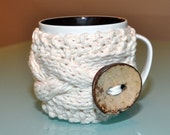 Mug Cozy Coffee Cozy CHOOSE COLOR Coffee Cup Sleeve Cabled  Eco Neutral Nature White Cream Ivory Easter Mothers Day Gift