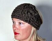 HEADBAND Earwarmer Headwrap CHOOSE COLOR Warm Cozy Barley Brown Headband Ear warmer crochet flower Gifts under 25