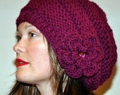 Slouchy Beanie Slouchy Hat Flower Crystal Knit Winter Adult Teen Wool CHOOSE COLOR Wild Berry Chunky Gift under 50