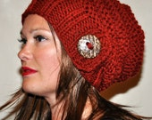 Slouchy Hat Slouch Beanie Button Hand Knit Winter Adult Teen Wool CHOOSE COLOR Brick Red Orange Chunky Gift under 50