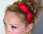 Bow Headband Red Headwrap CHOOSE COLOR Red Bow Headband Scarlet Girly Cute Gift under 10
