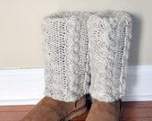 BOOT CUFFS Socks Muffs Leg Warmers UGGs Beige Wheat White  Cabled Cozy Natural Knit Gift under 50