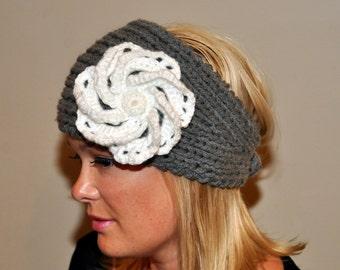 Crochet HEADBAND Ear warmer 100% WOOL Headwrap Choose COLOR Cozy Gray White Flower hat Silver Ash Cloud Earth Neutral Girly Romantic Gift